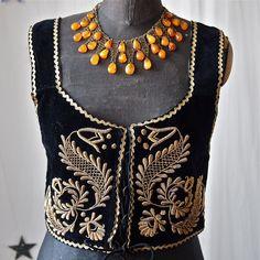 Czech  Black Velvet and Gold Embroidery Metallic Thread Bullion Lace Up Vest Folk Costume. $98.00, via Etsy.