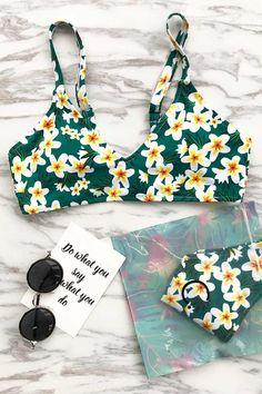 8b444ec86 Cute Suit Floral Print Bikini Set. Trajes De Baño ...