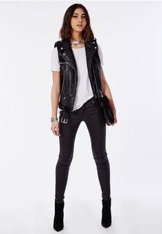 Sleeveless Faux Leather Gilet Black - Coats & Jackets - Missguided