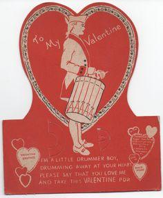 1941 Heavy Cardboard Valentine, Drummer Boy, has rings that held a Valentine Pop, a little wear, Used by VintageNEJunk on Etsy