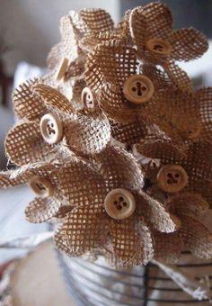 Flower Crafting Burlap, hemp, jute - all great materials for flower making Burlap Lace, Burlap Flowers, Diy Flowers, Burlap Wreath, Fabric Flowers, Paper Flowers, Hessian, Button Flowers, Burlap Crafts