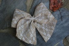 Lace Burlap Bow - Shabby Chic Bow - Wedding Bow - Wreath Bow by CreatedForHome on Etsy