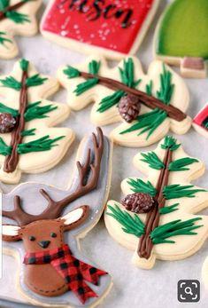 Cute Woodland Deer Cookies Pine and Deer Decorated Cookies_Chocolate Royal Icing Recipe Thanksgiving Cookies, Christmas Sugar Cookies, Christmas Sweets, Christmas Goodies, Holiday Cookies, Christmas Crafts, Halloween Cookies, Christmas Tree, Iced Cookies
