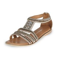 I'm shopping Pink leather bead and gem sandals in the River Island iPhone app.