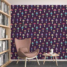 Rainbow Mushroom Pattern Peel and Stick Wallpaper - Smooth Wall Decal / 1 roll: 24W x 72H