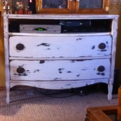 An Old Dresser As A Entertainment Center Use The First Drawer Shelf And