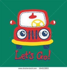 a cute red car print with a applique on it