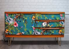 Inside Cabinets, Tv Cabinets, Upcycled Vintage, Retro Vintage, Teak Sideboard, Teal Background, Danish Style, Decoupage Ideas, Hairpin Legs