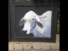 Acrylic on vintage cupboard door.  Brahman cow.  Love this breed for their etherial look.