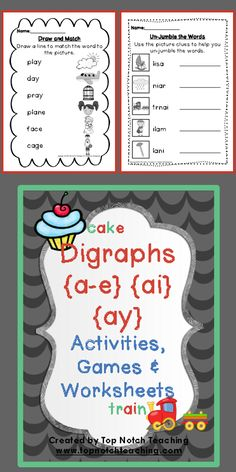 Fantastic reading, writing, matching and kinaesthetic activities for teaching the digraphs {a-e} {ai} & {ay}. $ http://www.teacherspayteachers.com/Product/Digraph-Activities-Games-Worksheets-a-e-ai-ay-747201