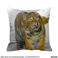 tiger print cat custom personalize Anniversaries Pillows