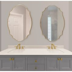 Shop Kate and Laurel Leanna Scalloped Oval Wall Mirror - Gold - - Overstock - 31288732 Gold Mirror Bathroom, Bathroom Fixtures, Wall Mirror, Gold Vanity Mirror, Decorative Bathroom Mirrors, Large Gold Mirror, Bathroom Mirror Makeover, French Bathroom, Bathroom Wallpaper