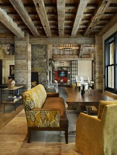 Love the rustic warmth and the beams! Not so much the furniture...