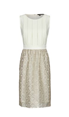 HALLE $325 415592 Silk charmeuse sleeveless dress with circular pattern metallic lace skirt.