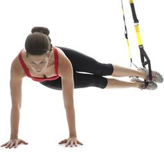 Total-Body TRX Workout is awesome.  I just tried it this Fall, and it uses your own body weight.  It's easy to adjust and challenging.
