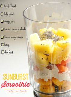 Sunburst Smoothie - Family Fresh Meals. For 2 = 1/2 C. baby carrots, 1/2 C. orange juice, 1 cup frozen pineapple, 1/2 C. frozen mango, 1 T honey, 1 T. chia or flax seed, 1 C. plain Greek yogurt