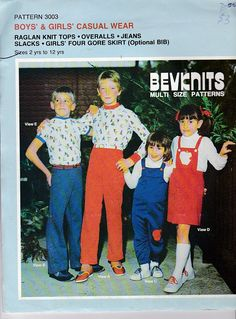 1980s Sewing Pattern  BevKnits 3003 Childrens  Tops