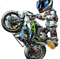 Motorcycle Suit, Motorcycle Posters, Yamaha Motorcycles, Cars And Motorcycles, Cartoon Pics, Cartoon Art, Yamaha R25, Bike Sketch, Street Bikes