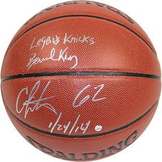 Bernard King/Carmelo Anthony Dual Autographed I/O NBA Brown Basketball w/ 62 1/24/14 Inscription By Anthony and Legends Knicks Inscription By King - Authentic Signed Autograph >>> More info could be found at the image url.