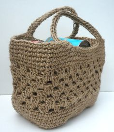 I am in love with the entire shop...Crochet Jute Tote Shopping Bag Strong Made by AbsojutelyBagulous, £25.00