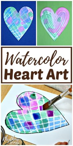 Watercolor Surprise Heart Art Painting Ideas Watercolor Heart Art – Use our FREE printable heart template & choose a watercolor resist medium. Then it's time to paint! This technique will help you create some surprise heart art for Valentine's Day! Valentine Crafts For Kids, Crafts For Girls, Valentines For Kids, Kids Crafts, Valentines Watercolor, Kids Watercolor, Watercolor Heart, Art Lessons For Kids, Projects For Kids