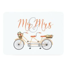 Shop Wedding Tandem Bike Mr and Mrs created by JunkyDotCom. Personalize it with photos & text or purchase as is! Illustrated Wedding Invitations, Wedding Invitation Templates, Wedding Stationary, Tandem, Bike Wedding, Wedding Table, Dream Wedding, Bike Illustration, Mr And Mrs Wedding