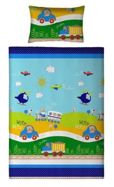 Aminata Kids - Kinderbettwäsche 100x135 Auto Bettwäsche Automotiv LKW Zug Jungen Bettwäsche Kinder Hubschrauber