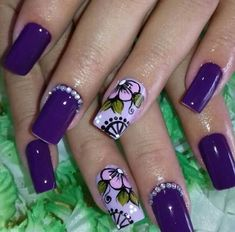 Stunning Womens Shoes Hot Nails, Hair And Nails, Gorgeous Nails, Pretty Nails, Summer Nails 2018, Diva Nails, Latest Nail Art, Purple Nails, Purple Art