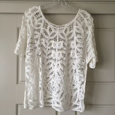 Hinge Crochet Tee Hinge brand from Nordstrom. White crocheted tee Hinge Tops Tees - Short Sleeve