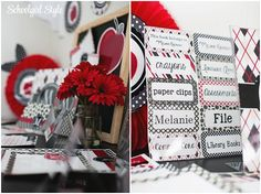 Red Black Gray Apple Polka Dots argyle classroom theme and decor by Schoolgirl Style www.schoolgirlstyle.com Classroom Organization