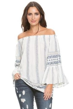 932d0841987a3 White Off Shoulder White Navy Tunic with Ruffle Sleeves Flutter Sleeve Top