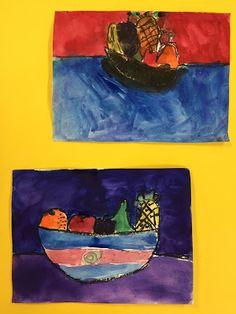 Elements of the Art Room: 2nd grade Paul Cezanne inspired Fruit bowls Fruit Art Kids, Fruit Bowls, Paul Cezanne, French Artists, Inspired, Artwork, Projects, Room, Painting