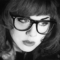 """Blackfantastix drawing 2"" - Caius Augustus {contemporary figurative artist beautiful female head eyeglasses woman face portrait cropped pencil drawing} daddyo4.deviantart.com"