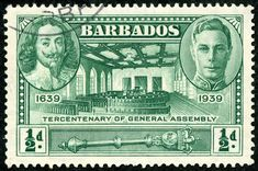 """Barbados 1939 Scott 202 ½d deep green """"Charles I, George VI, Assembly Chamber and Mace"""" Postage Stamp Design, Postage Stamps, Commonwealth, King James I, Stamp World, Windward Islands, George Vi, Caribbean Sea, French Language"""