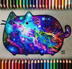 A Galaxy Pusheen I Something to brighten your day. Kawaii Drawings, Cute Drawings, Cats Tumblr, Atelier D Art, Caran D'ache, Nyan Cat, Cartoon Tattoos, Kawaii Cat, Cat Art