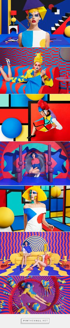 Jessica Walsh's pop art is full of energy and pops of primary colours. Walsh's art direction as complicated as it seems works well in still projecting the highlights of each art work. Graphisches Design, Pop Art Design, Editorial Fashion, Fashion Art, Pochette Cd, Art Photography, Fashion Photography, Montage Photo, Tim Walker