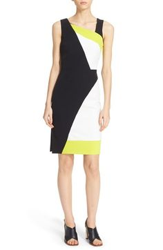 MILLY 'Cady' Graphic Colorblock Sheath Dress. #milly #cloth #