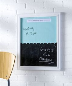 This dual DIY dry erase board and chalkboard makes a lovely teacher's gift, but is also perfect for anyone that wants to get organized! Great for the kitchen, mudroom or craft room - anywhere the family can access. Memo Boards, Chalk Board, Bulletin Boards, Diy Craft Projects, Craft Ideas, Diy Ideas, Wood Projects, Woodworking Projects, Globe Projects