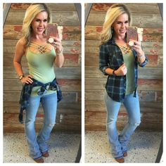 Penny Plaid Flannel Top: Blue/Mint top can be worn as long sleeves or a top. It is so very soft and comfy! This is a soft stretchy awesome material! Outfits Fo, Flannel Outfits, Cute Fall Outfits, Country Outfits, Plaid Flannel, Fall Winter Outfits, Summer Outfits, Fashion Outfits, Fall Fashion