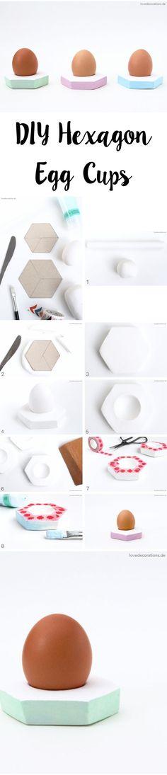 DIY Fimo Eierbecher   DIY Hexagon Egg Cups