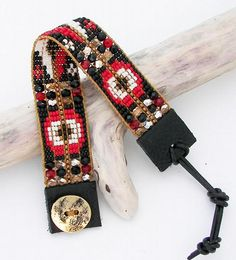 Black and Red Bead Loom Bracelet by AdoraDesigns, $95.00 USD