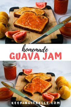 Guava Recipes, Hawaiian Recipes, Jelly Recipes, Jam Recipes, Canning Recipes, Vegan Recipes, Dessert Recipes, Guava Jam Without Pectin, Fertility Foods