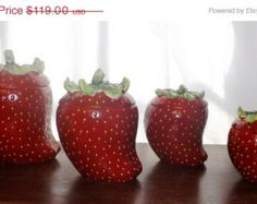 Strawberry Kitchen Items Strawberry Canister Set Ceramic Strawberries Strawberry Kitchen Decor
