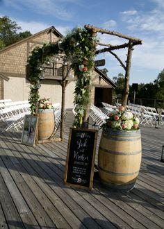 Wine Barrel Flower Decorations -- Wedding Arbor -- Rustic Vineyard Wedding -- Aisle Decorations