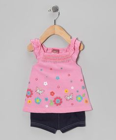 Take a look at this Pink Butterfly Flower Tunic & Shorts - Infant & Toddler by Angel Face on #zulily today!