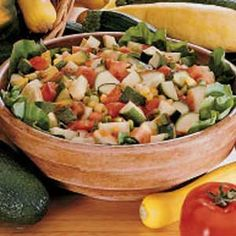 Zesty Gazpacho Salad Recipe -This refreshing salad is excellent for a summer cookout. Since you mix it ahead, the flavors have time to blend and there's no last minute fussing. My friends ask me to bing it every time we get together for a meal.                                          —Teresa Fischer, Munster, Indiana