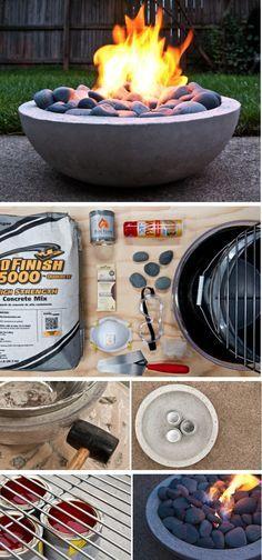 Make a DIY Modern Concrete Fire Pit from Concrete mix + Gel fireplace fuel canisters + 44cm bowl + 38cm bowl   Feuerschüssel aus Beton selber machen   Terrasse