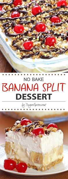 No Bake Banana Split Dessert Recipes.Delicious, rich and creamy, with all the ingredients you love in a banana split, this no-bake Banana Split dessert will be one you make again and again. Brownie Desserts, Oreo Dessert, Pudding Desserts, Easy Desserts, Dessert Food, Healthy Desserts, Dessert Simple, Baking Desserts, Dessert Bread