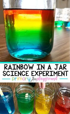 Rainbow In A Jar Science Experiment This is such a great science experiment to teach about density. #scienceexperiment
