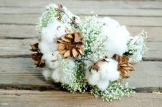 cotton and baby's breath bouquet